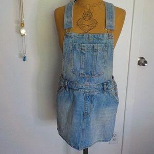 Distressed Jean Mini Skirt Overalls